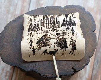 Medieval Leather Pouch for Small Goods (Size of Credit Card) - Engraved with Knights and Dragons, Leather Bag for Men, Leather Coin Purse