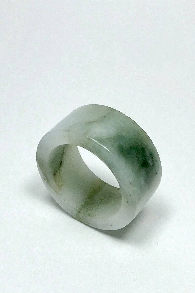 US Size 9 14 Burma Jade Jadeite Ring Thumb RingPendant Natural Grade A Jade Translucent Icy Moss In Snow Jadeite Thumb Ring Jade Band