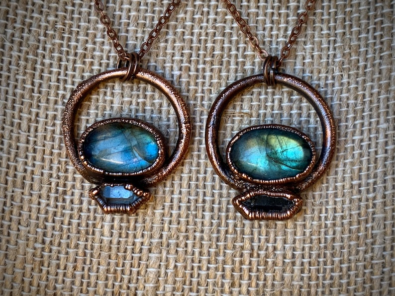 Protection Amulet Copper Gemstone And Crystal Necklace Labradorite and Herkimer Diamond Copper Electroformed Pendant