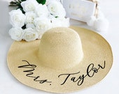 Floppy Beach Hat Personalized Bride Hat Floppy Hat with Name Custom Personalized Beach Hat Honeymoon Must Have Honeymoon Gifts (EB3270P) photo