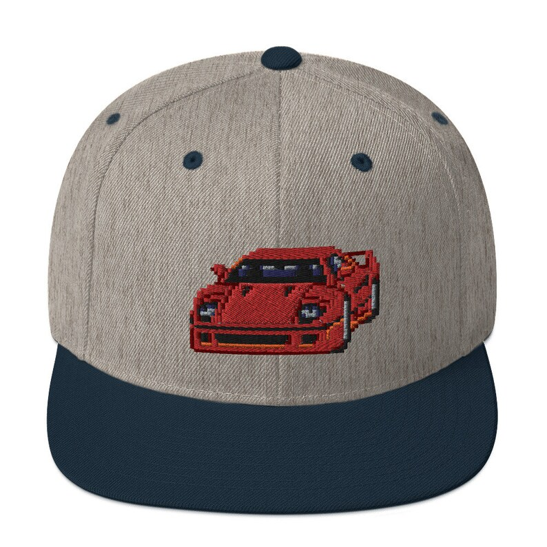 Snapback Hat with a Pixel Race Car  Embroidery snapback