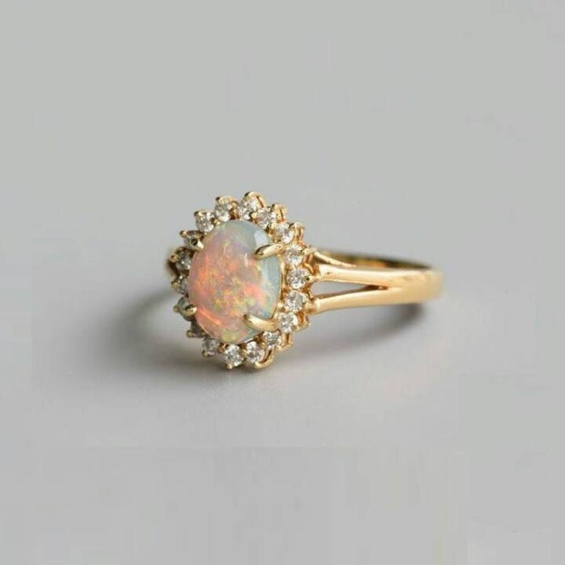 14k Gold Opal Engagement Ring Natural Fire Opal Wedding Ring Vintage Halo Wedding Ring Antique Opal Bridal Promise Ring Opal Gemstone Ring