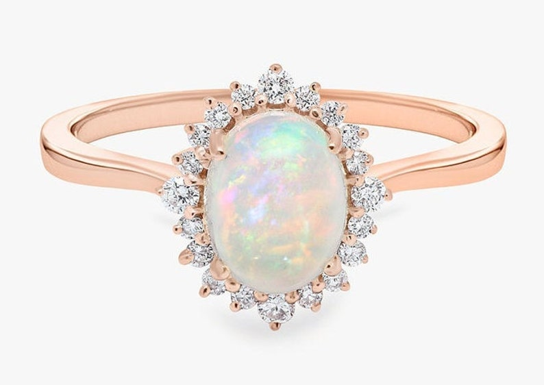 Opal Halo Engagement Ring Vintage Opal Wedding Ring for Women image 0