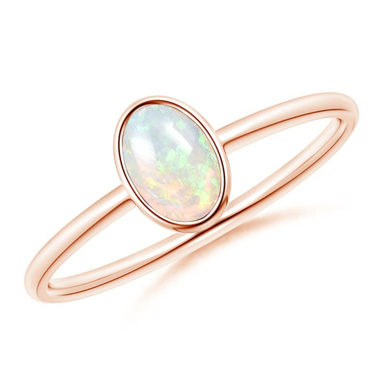 14k Gold Opal Engagement Ring Minimalist Opal Ring For Women Dainty Opal Ring 14k Gold Opal Wedding Promise Ring Women Opal Anniversary Ring