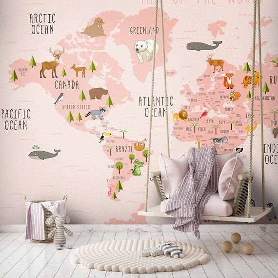 Pink Colors World Map Wallpaper Girly Room Decor Wall Poster Etsy