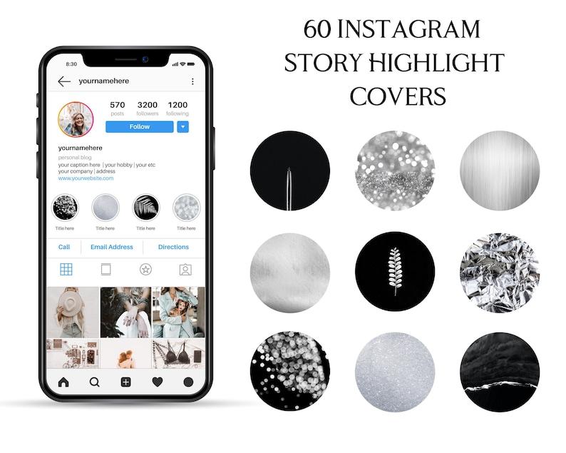Instagram Stories Glitter Instagram Highlight Covers Dark Highlights Instagram Story Highlight Icons Black and Silver Instagram Icons
