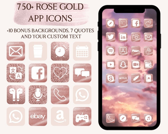 Rose Gold App Icons Iphone Ios 14 App Icons Pink Aesthetic Etsy
