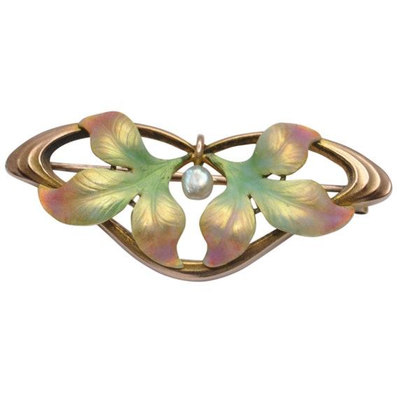 Art Nouveau Enamel Pearl Gold Brooch