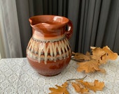 Vintage Pottery jug, ceramic Pitcher, large brown glazed rustic vase home farm decor old ethnic traditional made in Latvia natural red clay
