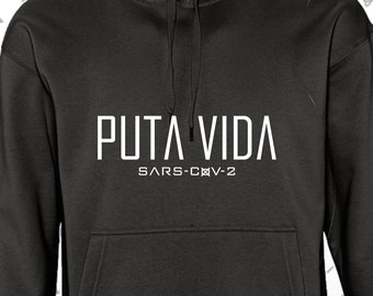 SUDADERA with 100% cotton HOOD, PTVD model. Grey/Black.