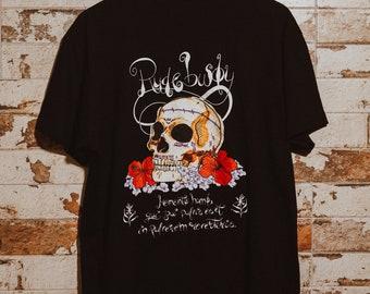 Black short sleeve T-shirt. RUDE Bwoy MODEL