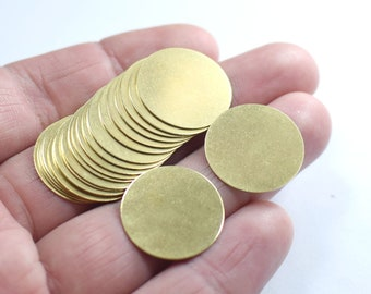 Stamping Blank DS-RW-156 12 Pcs Raw Brass Disc 6 Hole Disc Round Coins