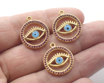 1 Hole 1 Pcs 24K Shiny Gold Plated Crystal Stone Round Enamel Eye Evil Eye Pendant Charms NF0386H 18 x 21 mm