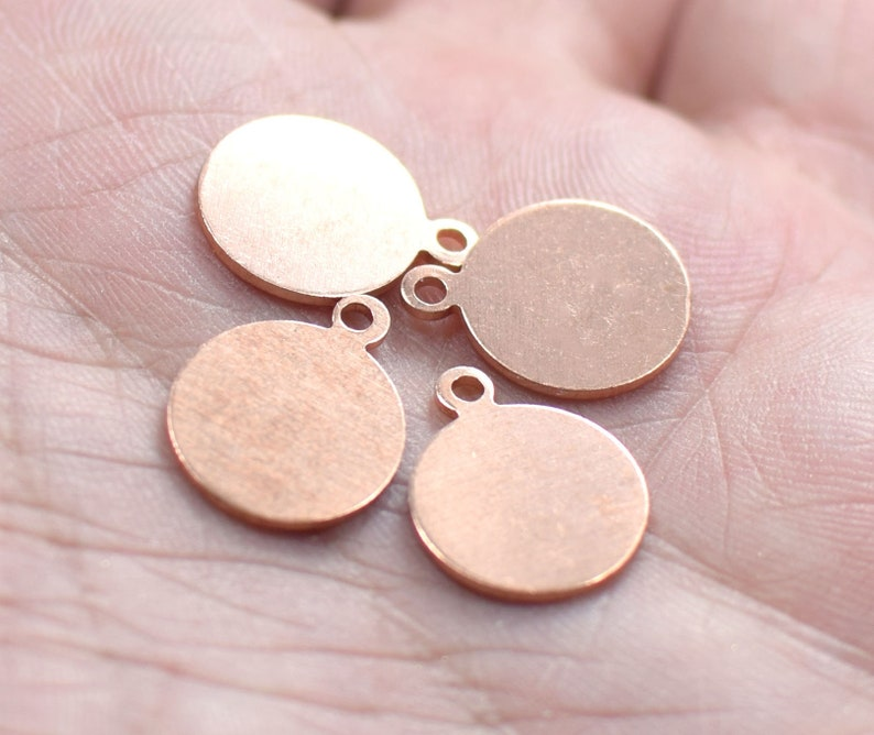 1 Hole 0.8 x 12 x 15 mm Raw Copper Round Coin Findings