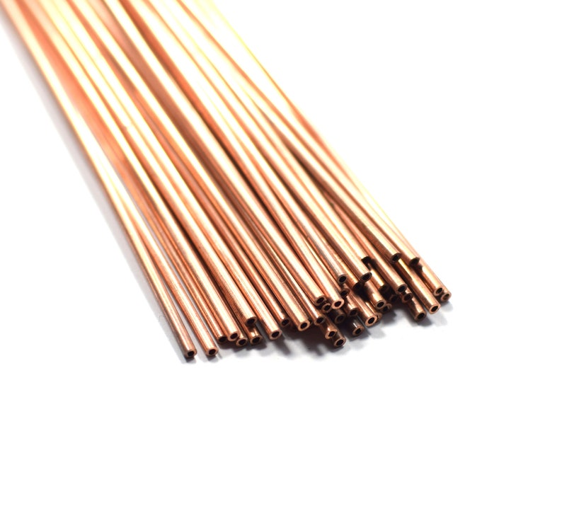 Hole 1.4 mm 2 x 65 mm Raw Copper Tube