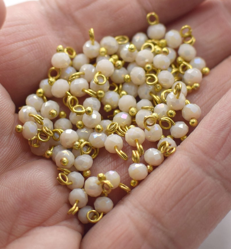 24K Shiny Gold Plated Cream Color Curled With Nails Link Crystal Beads 4 mm NF0527 Hole 2 mm
