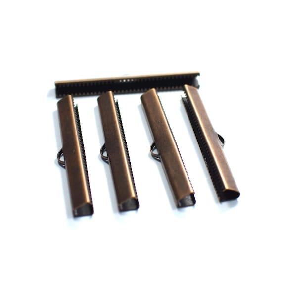 Raw Brass Ribbon Crimps 6 x 9.5 mm Ribbon Crimp