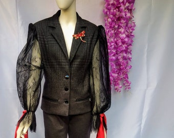 Anthracite Suit, Suit, Jacket and Pants, Lace Sleeves, French Lace, Wool Suit, Jewel Buttons, Cigarette Pants