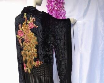 Long fringe kimono, embroidered kimono, smooth velvet kimono, kimono boho, black gold kimono, peacock kimono, shawl kimono, hippy shawl