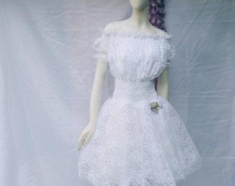 White lace dress, wedding dress, holiday dress, beach dress, lace flowers, lace rebrodè, short dress, young bride