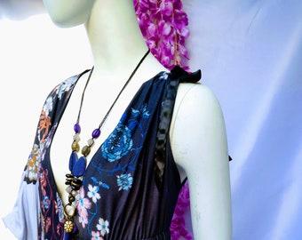 Stretch dress, Soft dress, V-neckline, Floral dress, asymmetrical dress, kimono, long dress, slit dress
