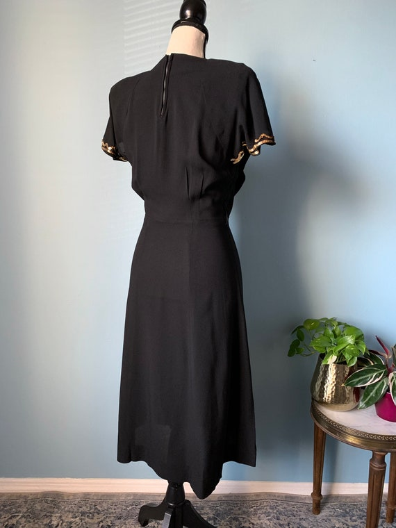 S 40s Rayon Dress with Sequins - image 4