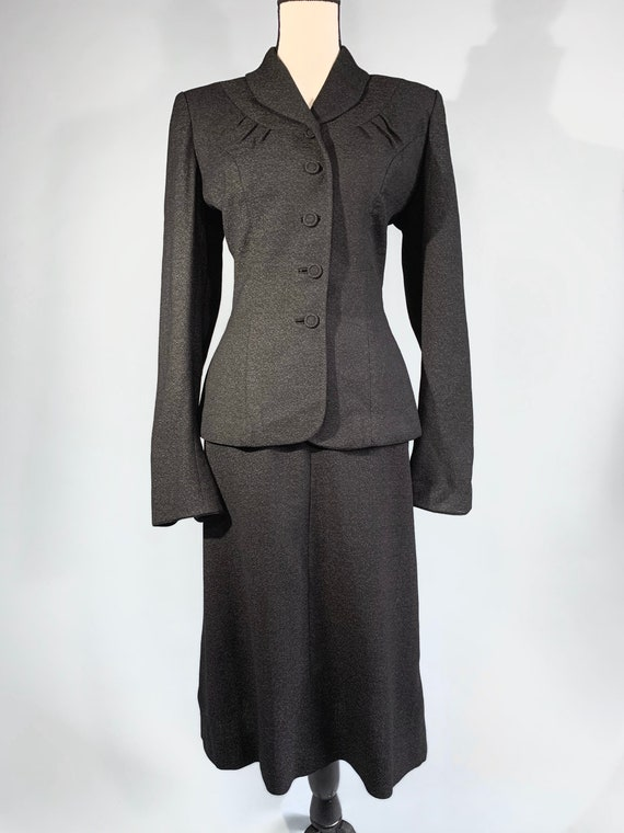 S 1940s charcoal gray jacket skirt suit - image 2