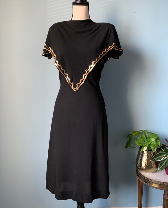 S 40s Rayon Dress with Sequins - image 2