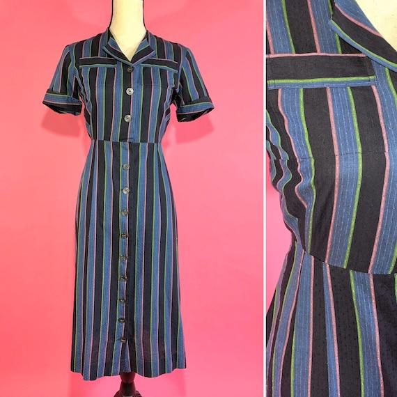 M 50s neon stripe shirtdress