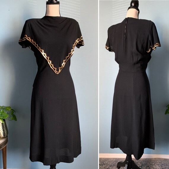 S 40s Rayon Dress with Sequins - image 1