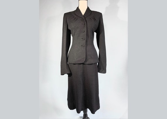 S 1940s charcoal gray jacket skirt suit