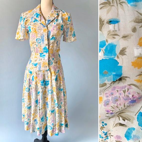 1940s sheer floral dress