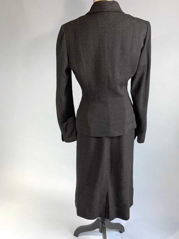 S 1940s charcoal gray jacket skirt suit - image 4