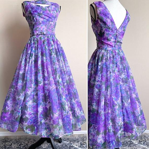 S 50s floral dress