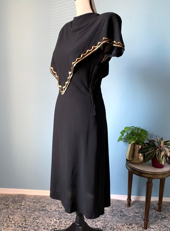 S 40s Rayon Dress with Sequins - image 3