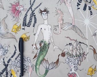 """Alexander Henry """" Ghantis Ghastlie """" Mermaid and Mermaid , 0.5 m x 1.10 m on beige"""