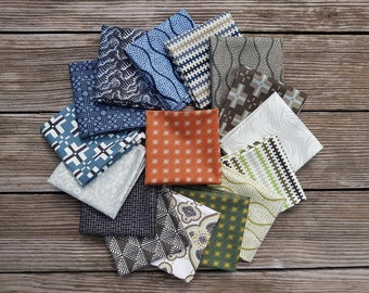 Parson Gray by David Butler for Free Spirit, Fat Quater Bundle, 16 pieces, each 50 x 52 cm - total 4 meters fabric, fabric package assorted