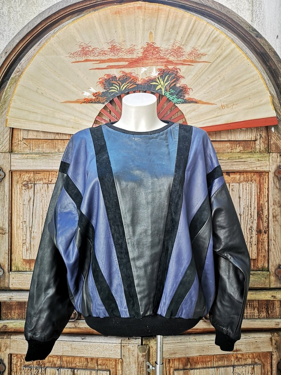 80s leather and suede multicolour blouse