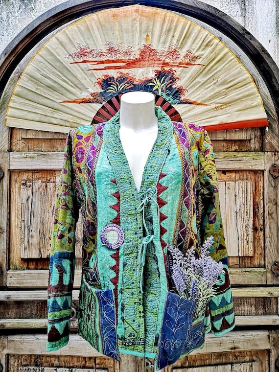 90s embroidery indian boho jacket