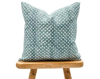 Designer Floral Indigo Blue on Natural Linen Pillow Cover, Teal Blue Pillow cover, Boho Pillow, Decorative Throw Pillow, Floral pillow cover