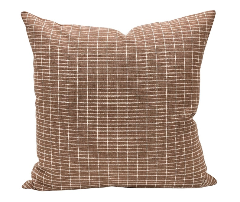 Kufri Hiroki in Dusty Mauve Cream white and tan dots Hmong KRINTO pillow combination #2 Pillow set Designer Nisa Mave on Natural Linen
