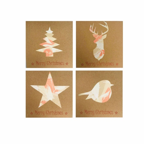 Homemade Rustic Christmas Cards On Recycled Card For Christmas Etsy
