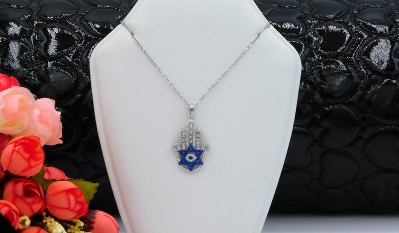 Hamsa Pendant Hamsa Necklace Hand of Fatima Necklace 925 Sterling Silver Hamsa Ladies Evil Eye Hamsa Necklace Hamsa Jewelry