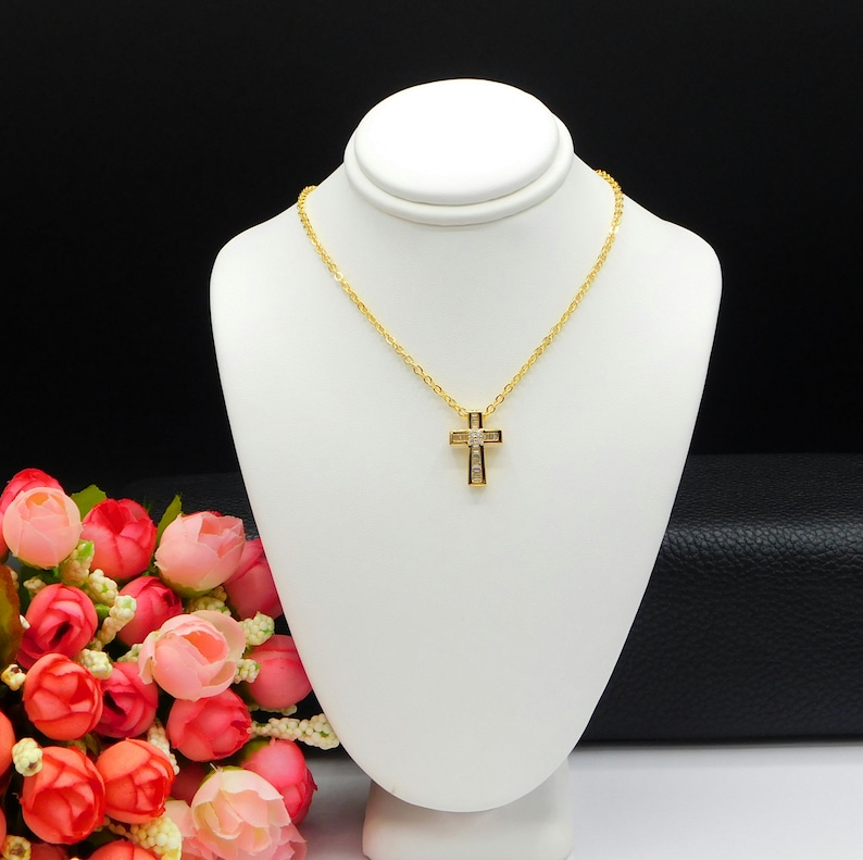 Religious Gifts Dainty Cross Elegant Cross Gold Filled CZ Cross and Necklace Cross Pendant Necklace Cross Charm Pendant Cross Charm