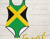 Jamaica One Piece Swimsuit for Children Youth, Jamaican Swimwear for Kids, Jamaican Clothing