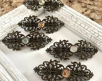 red gold or antique bronze 28 x 56 mm silver 2 or 6 filigree hair clips available in gold