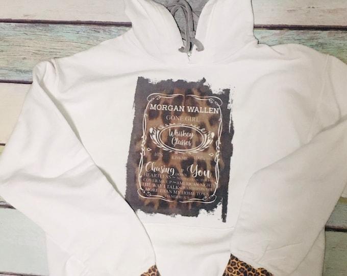 Morgan Wallen custom bleached TShirt Hooded sweatshirt hoodie leopard womans mom gift