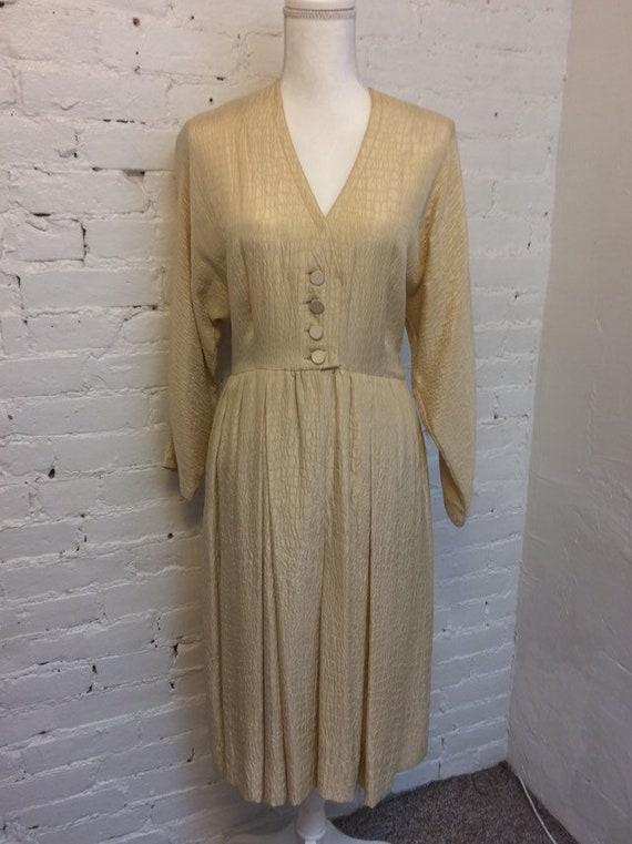 Adele Simpson 80s Croc Embossed Silk Dress Dolman