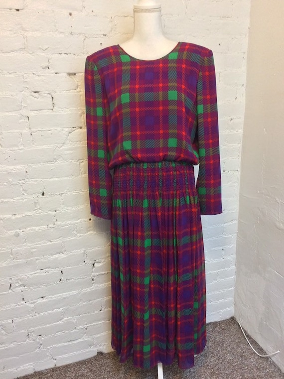 William Pearson Silk Blouson Maxi Dress Pink Plaid