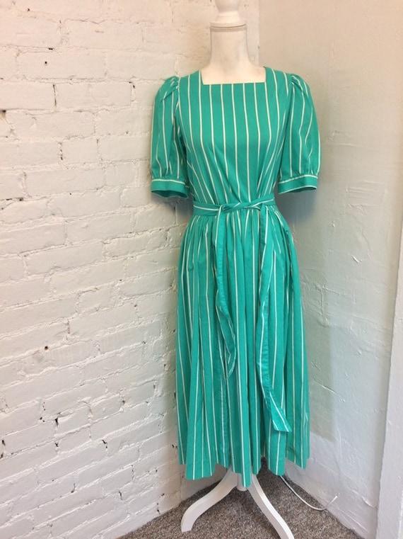 Laura Ashley Vintage 90s Tie Waist Midi Dress Gre… - image 1